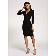 Black Knitted longsleeved dress - Black sweater dress