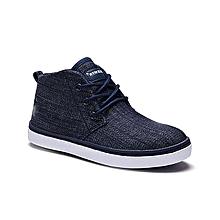 Navy Textured Hi-Top Lace-Up Sneaker