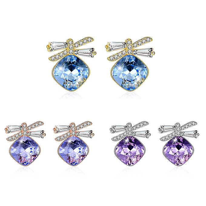 64a02a1fc Fashion Sterling Silver Bow Stud Earrings-BLUE @ Best Price   Jumia ...