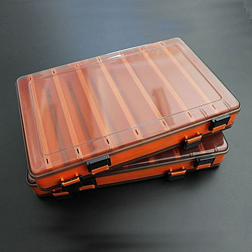 Fishing Lure Box Double Sided Tackle Box Fishing Lure Egi Squid Jig Pesca Accessories Box Minnows Bait Fishing Tackle Container Orange