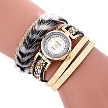 Lady  Leather Wrist Watch Fulaida Stylish Crystal Magnetic Buckle Leather Bracelet Lady Womans Wrist Watch GD-Gold