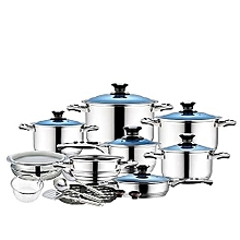24Pcs Stainless Steel Cookware Set Blue clear  glass lids