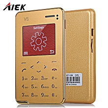 AIEK V5 1.8 inch Ultra-thin Quad Band Card Phone Bluetooth 3.0 FM Audio Player GOLDEN