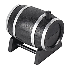 Portable Automatic Wine Barrel Shaped Toothpick Holder Plastic Box Container black
