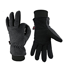 Outdoor Sport Men Women Winter Warm Gloves Ski Skiing Deerskin Leather Cycling -- Black