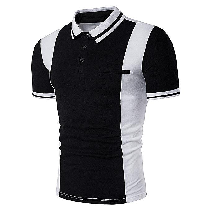60e94aa7 Fashion Varsity Stripe Color Block Panel Design Polo T-Shirt - BLACK ...