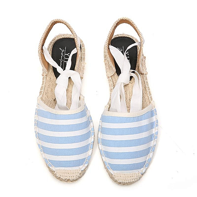 ef507ec60f YJP Women Canvas Espadrilles Ladies Ankle Strap Hemp Bottom Fisherman Shoes