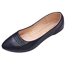 Women PU Leather Flat Shoes -Black