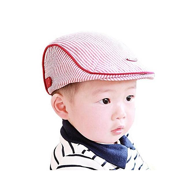 c0581eacea9b3 Hiaojbk Store Cute Baby Infant Boy Girl Stripe Beret Cap Peaked Baseball Hat  PK-Pink