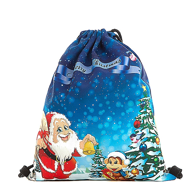 Christmas Candy Gift Bag Bundle Pocket Santa Claus Snowman Printed Backpack  F-Blue 8c976bdff6d30