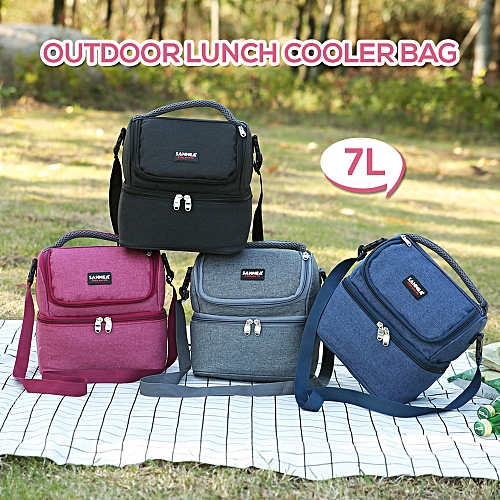 9b790350f2fd Lixada 7L Double-Deck Insulated Bag Cooler Lunch Tote Bento Cooler Outdoor  Camping BBQ Picnic Cooler Tote Bag