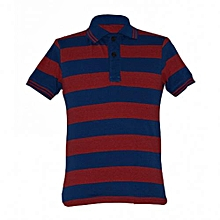 Blue and Red Striped Mens Polo Shirts