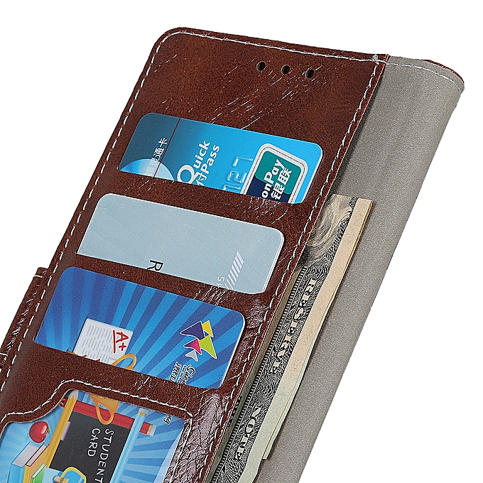 Retro Crazy Horse Texture Horizontal Flip Leather Case for OnePlus 7 (Brown)