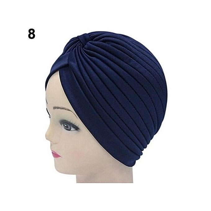 2d31180a83b Women Stretchy Hat Turban Head Wrap Band Chemo Bandana Hijab Pleated Indian  Cap-Navy Blue