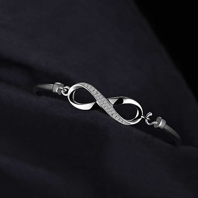 f32afe707 ... Forever Love Infinity Cubic Zirconia Anniversary Bangle Bracelet 925  Sterling Silver ...