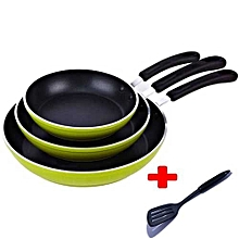 3 Piece Non Stick Cooking Pans And One Cooking Stick - green