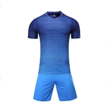Customized Blank 2018 New Fashion Kids And Men's Football Soccer Team Sports Jersey Set-Blue