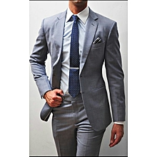 Light Grey Checked Slim Fit Wool 2 Piece Suit