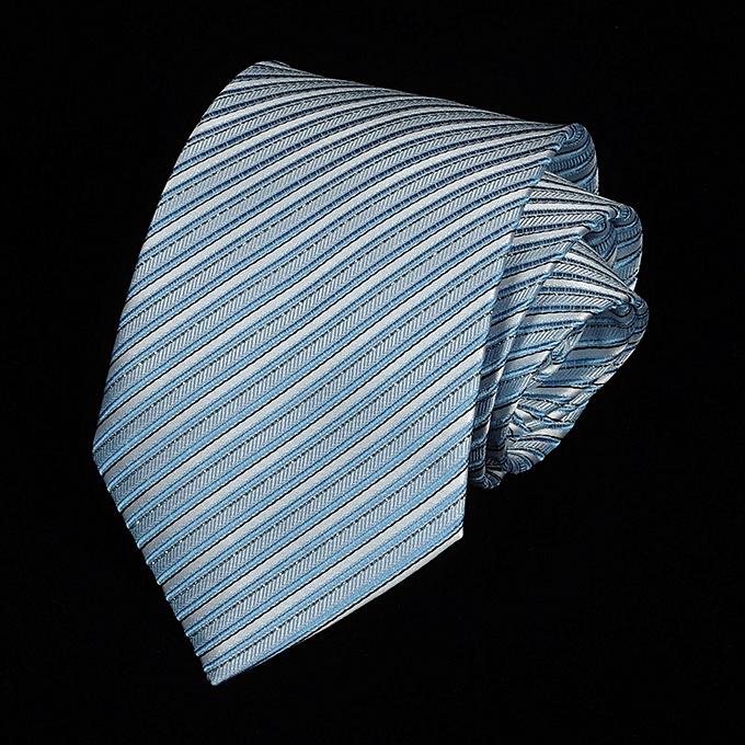 619e2a117b81 8CM Business Men Tie Dress Shirt Fashion Groom Marriage Stripe Spotted Bright  Tie Light Blue A5805