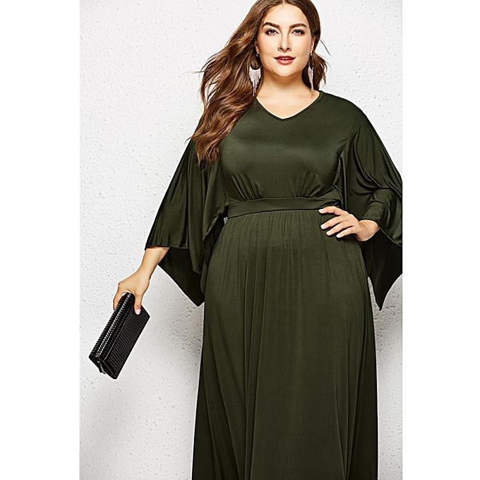 d9b701fc961 ... Women s Bat Sleeve Large-size V-neck Solid-color Dress Sexy Evening  Dress ...