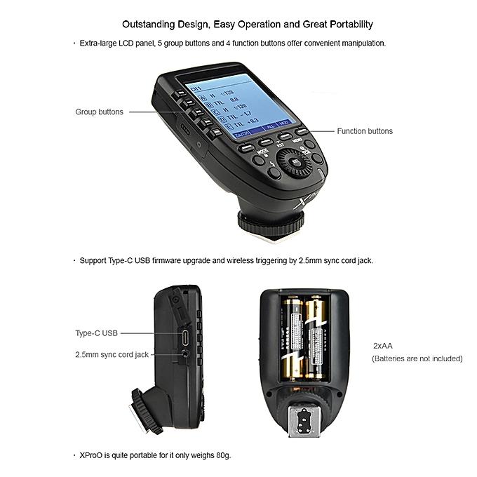 XproO 2 4G Wireless Flash Trigger Transmitter TTL Autoflash 1/8000s HSS  with Large LCD Display for Olympus PEN-F/ E-P3/ E-P5/ E-PL5/ E-PL6/ E-PL7/
