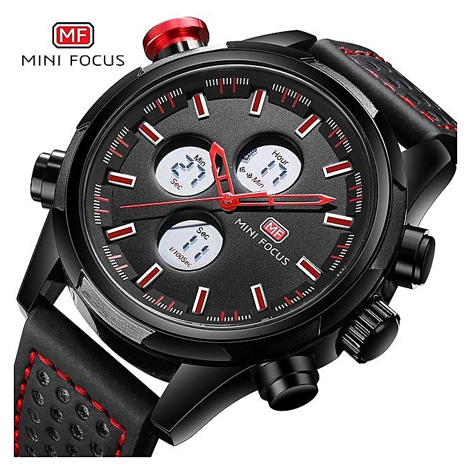 ec692dfcf9 MINIFOCUS Brand Sports Watches Men Dual Time Leather Military Watch Men LED  Digital Wristwatch 30M Waterproof Men's Clock 0066