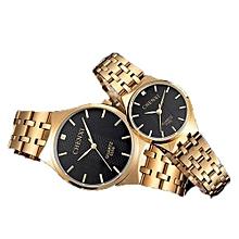 gold lovers watch for men women watches top brand luxury famous golden wristwatch quartz watch male female ladies clock