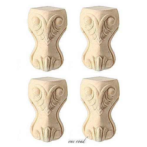 Four European Solid Wood Carving Furniture Feet 100x60mm