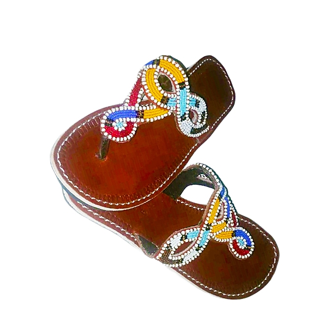 d5e4d8ca4261b Pure Leather Maasai Sandals with Beads