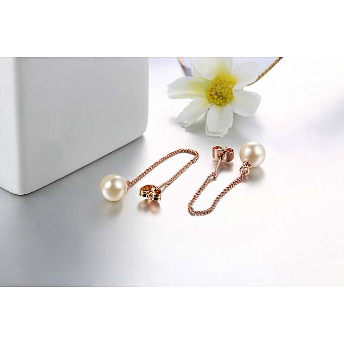 e51fe4713 Rose,gold and black beads-Popular Jewelry Simple Fashion Pearl Ear Line  Rose-