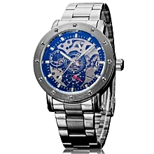 IK Coloring Casual Watch 2016 Men Men's Allochroic Glass Skeleton Dial Auto Mechanical Wristwatch With Box(Black)