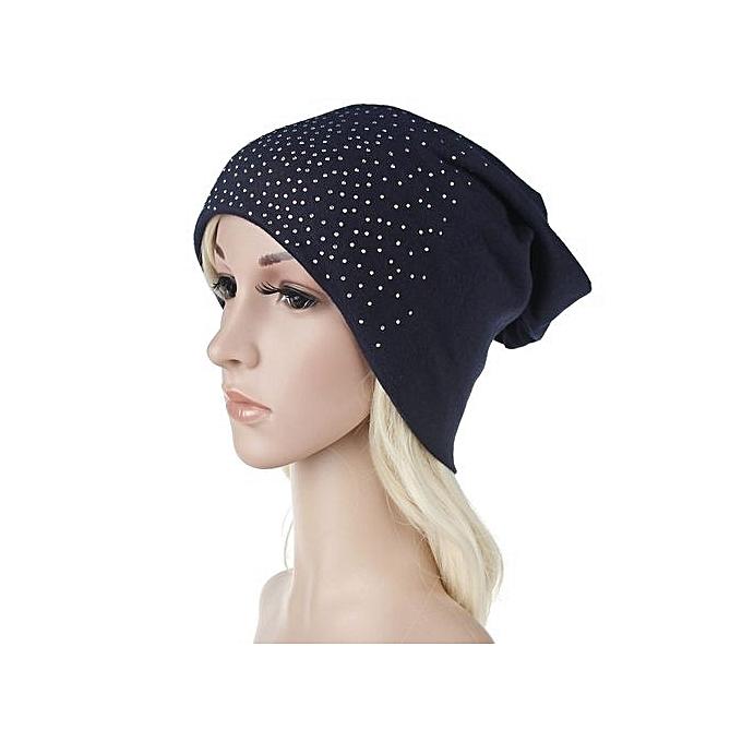 574c7d9c6 Women Hot Drilling Cotton Hip Hop Hat Beanie Scarf Turban Head Wrap Cap