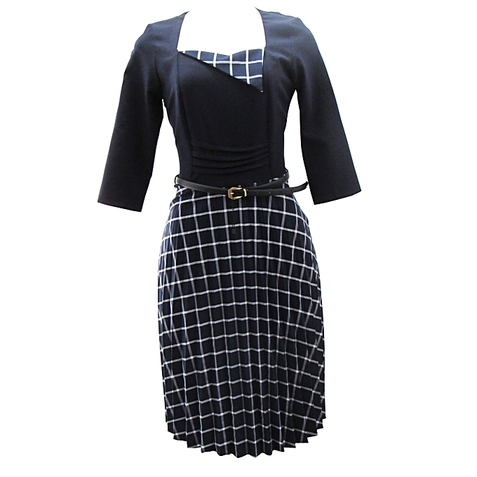 e43e34f8555 Generic Zalel navy-checked official ladies dress   Best Price ...