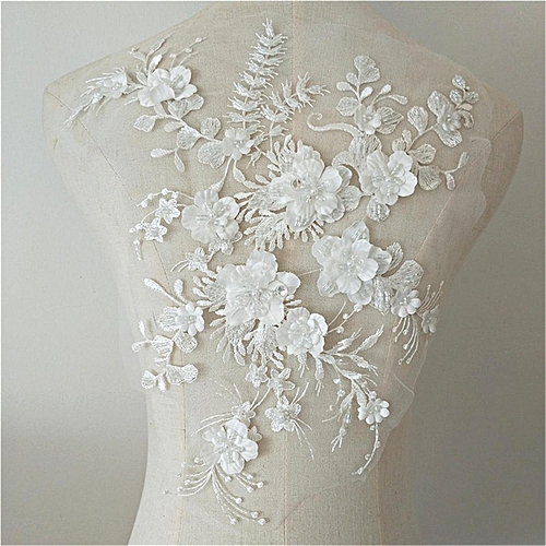 Wedding Dress Fabric.1x Wedding Dress Lace Fabric 3d Flowers Pearl Beaded Lace Applique Diy Craft