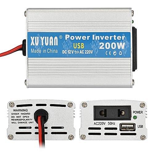 12V To 220V 200W Car On Board Inverter Converter - Silver White