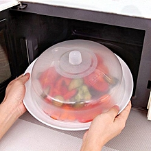 Microwave Food Cover Plate Vented Splatter Protector Clear Kitchen Lid Vent C-Clear