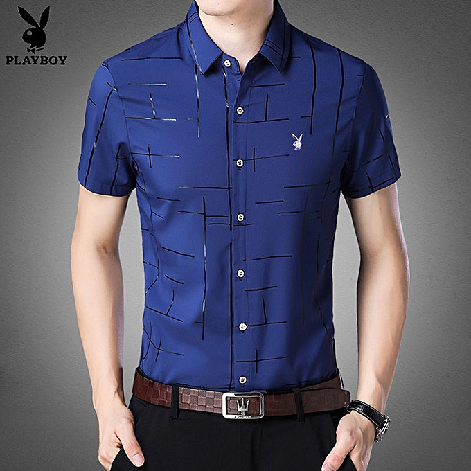 724c0980a Fashion Men's Casual Button Down Short Sleeve Shirt Top Blue