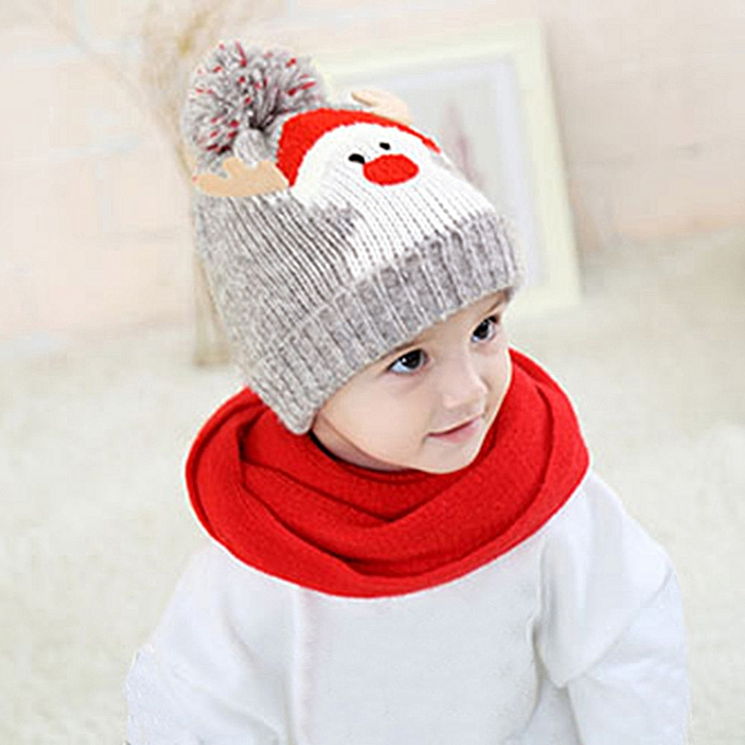 f27430feffa Baby Kids Beanie For Boys Girls Cap Cotton Knitted Ball Warm Christmas Hats  -Gray