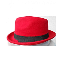 Unisex Wool Trilby Jazz Fedora Hat with Ribbon Band - Red