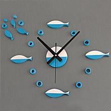 DIY 3D Luxury Fish style Wall Clock Home Decoration Art Clock Blue-Blue