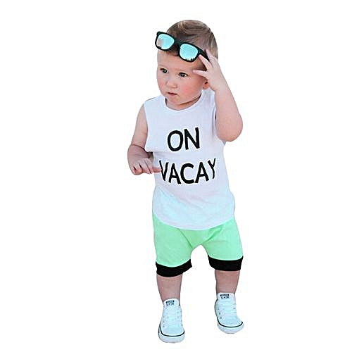 92dcecfa4fe63 Baby Outfit Toddler Infant Baby Boys Letter T Shirt Tops+Shorts Pants  Outfits Clothes Set-White