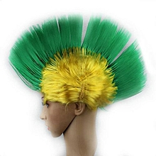 Rainbow Mohawk Hair Wig Rooster Fancy Costume Punk Rock Halloween Party Decor Size:Green + Yellow