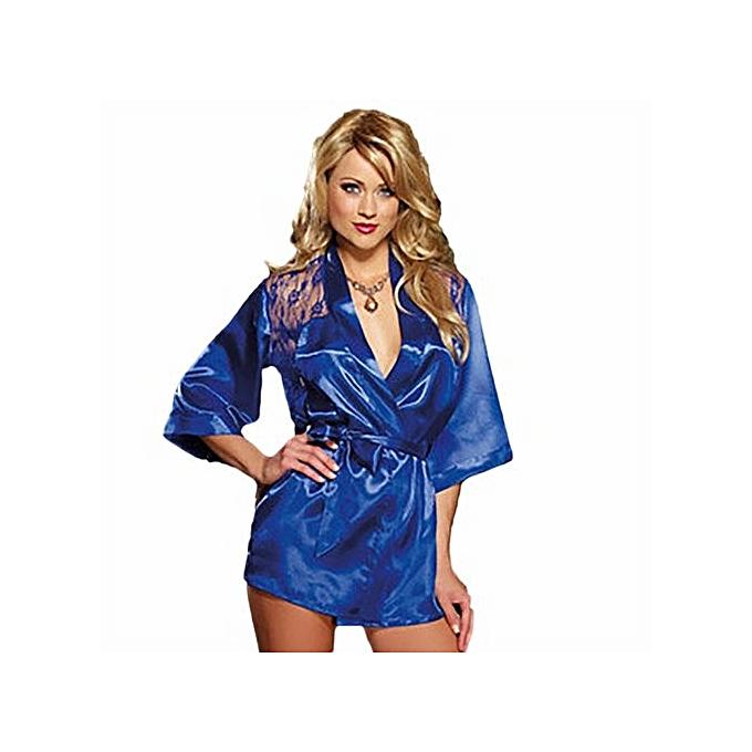 Buy Fashion 5 Colors Fashion Women Silk Lace Kimono Dressing Gown ...
