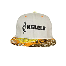 Light Grey And Orange Snapback Hat With Kelele Colors On Brim