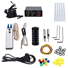 Tattoo Machine Kit 8 Wrap Coils Gun Needles Power Supply EU Plug - Black