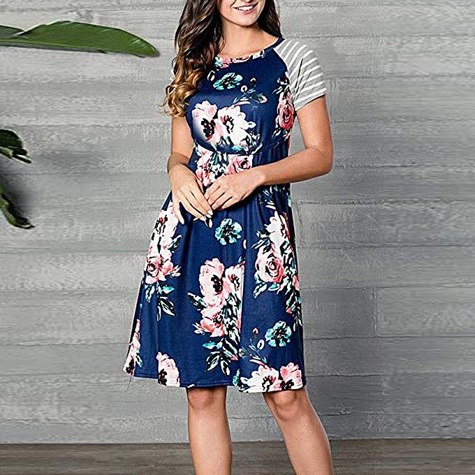 c3ce39cbeaf81 Hiaojbk Store Summer Women Pregnancy Care Wrap High Waist Floral Print  Short Sleeve Dress-Blue ...