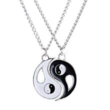 Olivaren Best Friends Couple Chain Necklace Pendant Lover Gift Valentine's Day -Black
