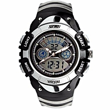 Fashion Kids Watches Sports 6 Colors Digital Rubber Children Watch Boy Waterproof 3Bar Gift Watches Student Stopwatch (Silver)