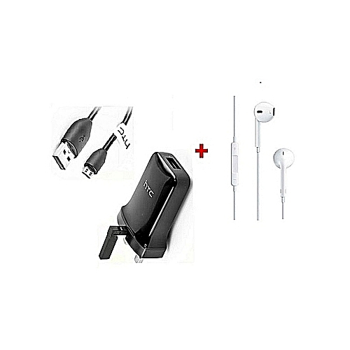 HTC 3 Pin Charger & Sync Cable - Black Plus  free   Earphones White