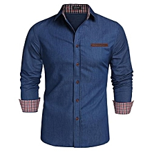 COOFANDY Men Long Sleeve Turn Down Neck Pure Color Loose Tops Casual Dress Cotton Button Down Shirts ( Black )